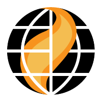 Logo featuring a flame inside of a globe with meridian lines